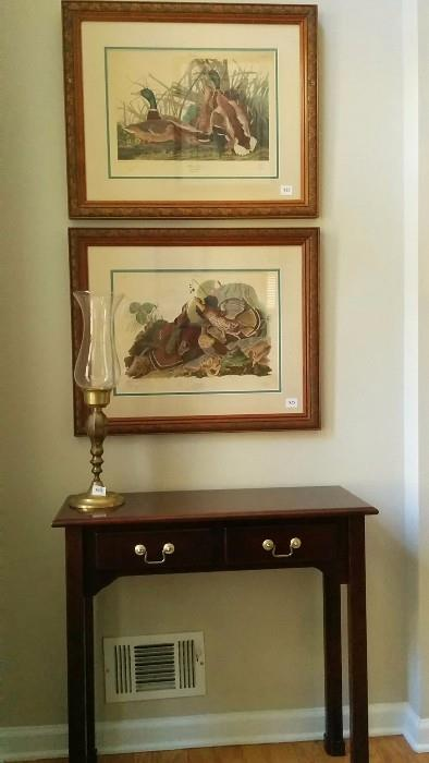 Pair of nicely framed/matted Audubon prints, (Mallard Duck, Ruffled Grouse) a mahogany-ish entry table by Bombay Co. - YUCK!   LOL