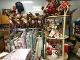 Hallmark plush reindeer and other decor, lace and plaid Christmas Tablecloths and napkins + Placemats