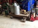 Industrial Wood and Cast Iron Cart---use to haul in your warehouse or re-make it into a coffee table or bar surface