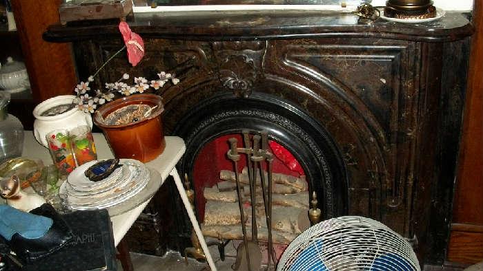 Marble Horseshoe fireplace.
