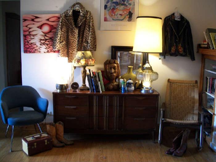 Saarinen chair Train case Rocker Mid Century Modern Credenza (Walnut) Leopard skin fur coat artwork Books (Design/Art/Black/Psychology/Sociology) Vintage lamps Clocks Pottery Prints