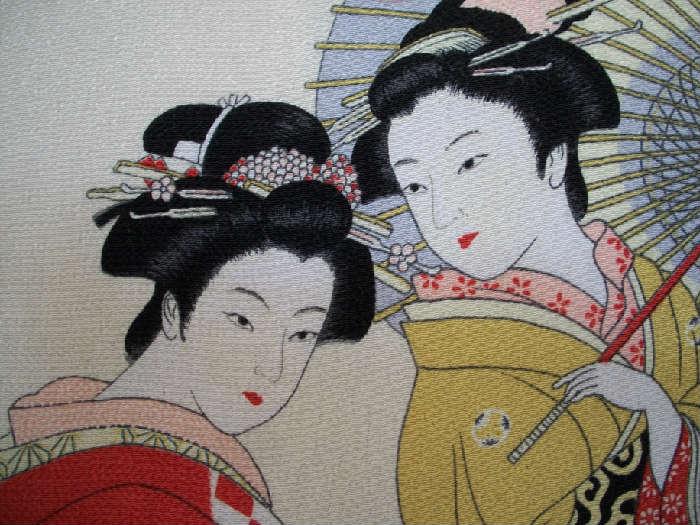 Vintage 40's Asian ladies square crepe scarf.