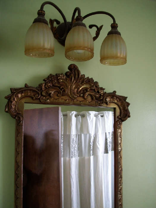 Vintage (long) French mirror 3 light French styled light fixture