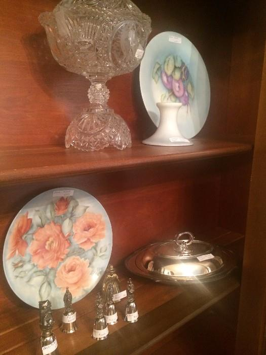 Hand painted plates; silver plate serving pieces