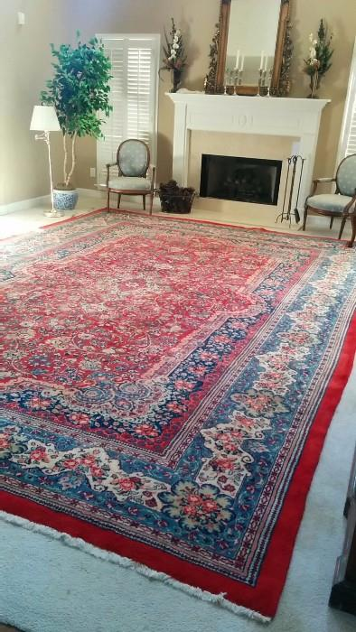 "Beautiful vintage Persian Kerman rug, 100% wool, hand woven and measures 11'10"" x 17' - a whole room full o' rug!"