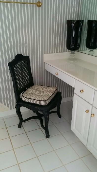 One of a pair of black lacquer wood/rattan chairs, w/ black/white toile fabric.