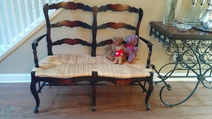 Nicely shaped mahogany/rush settee - great for a first date!
