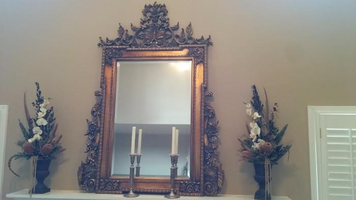 Gorgeous carved/gilded/beveled glass mirror, purchased at Weirs, Dallas, TX