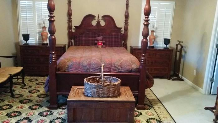 Big ol' whooper of a queen size bed, with new-ish Stearns & Foster mattress, w/ Ralph Lauren Home comforter & pillows, nice vintage pine trunk, large basket for any type of toy you can imagine, all atop an 11' x 17' 100% wool Stark carpet.