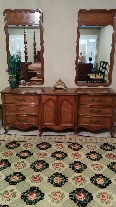Vintage French Provincial Double-Mirror, His & Hers, His & His? Hers & Hers? dresser,  manufactured by Century Furniture Co.