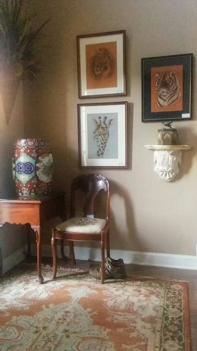 Asian porcelain garden seat, one of a pair of glass-topped mahogany side tables, Empire style side chair, with hand needlepoint seat, 5' x 8' Heriz style 100%, hand woven rug, pair of size 11 shoes (HOT!) I don't know how those sneeked into the pic...                                   Trio of original chalks, by local artist, carved wooden sconce.