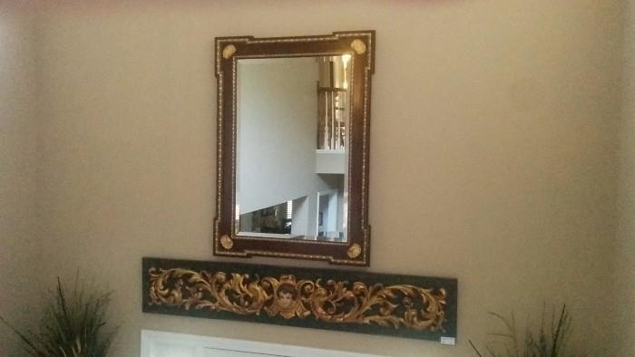 Vintage, hand-carved wooden over door fragment, large  mahogany/gilded mirror, w/beveled glass