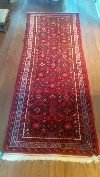 "Hand woven, 100% wool Persian rug/runner, measures 6'6"" x 2'3"""