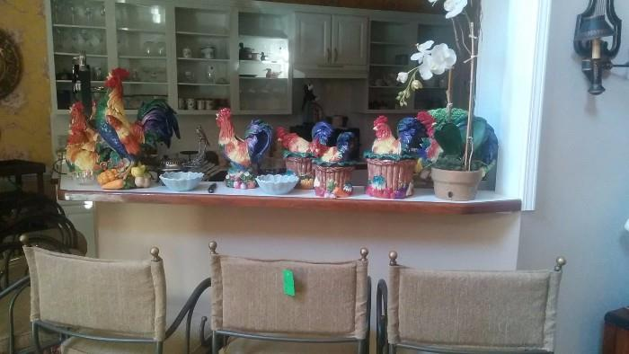 Here's that garish collection of Fitz & Floyd porcelain kitchen hen & rooster collection all the neighbors are talking about...