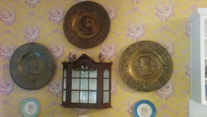 LARGE antique brass English wall dubloons, vintage mahogany hanging goo-gaw cabinet.