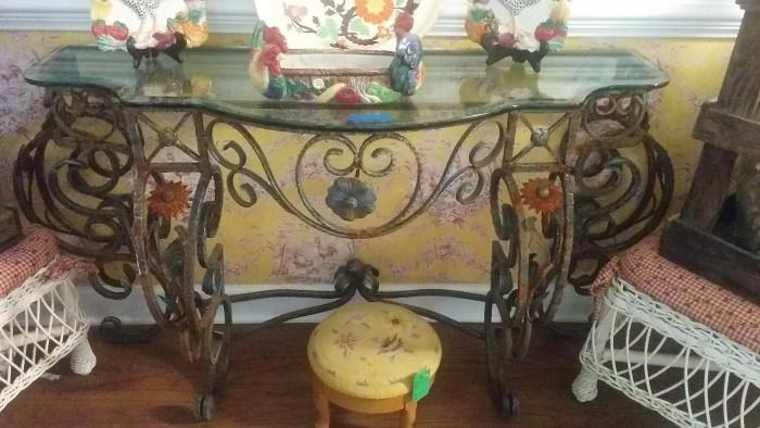 REALLY nice cast iron/beveled glass topped console table - just enough rust to make it chippy and ultra-cool!