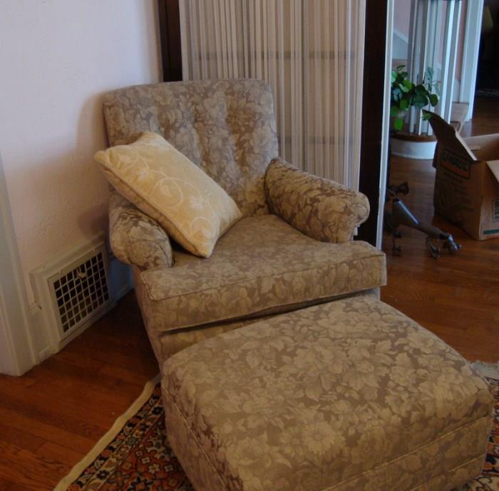 Brocade Chair and Ottomon