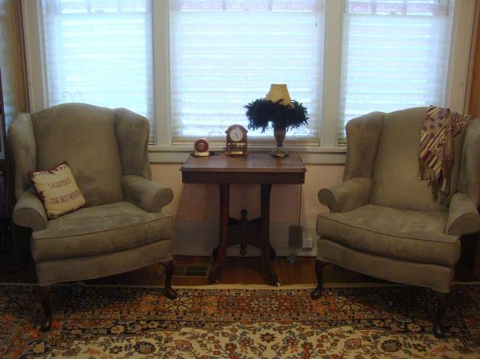 Suede wing Back Chairs, Antique Lamp Table