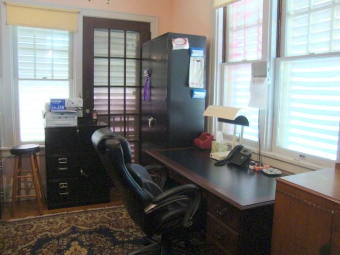 metal storage cabinet like new, desks,