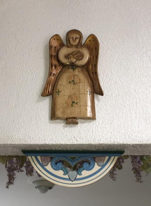 Antique wood angel