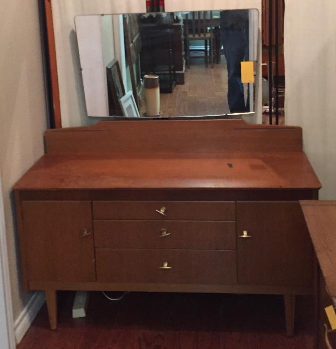 Mid-century dresser with mirror.