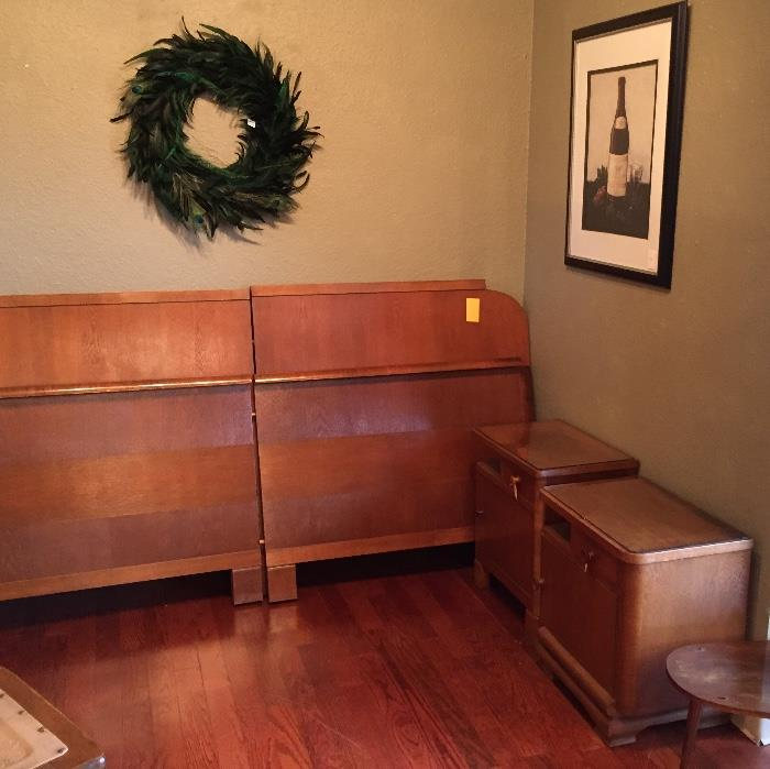 Feather wreath, mid-century king size bed and nightstands.