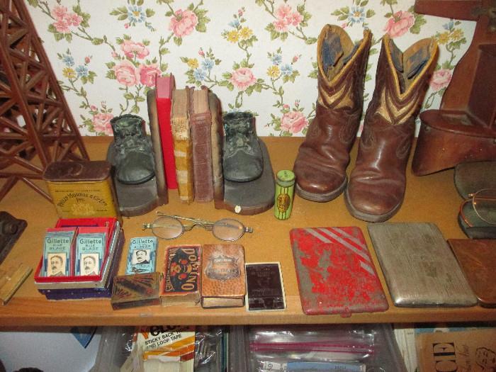 Bronze Baby Shoe Book Ends, Cute Little Boots,