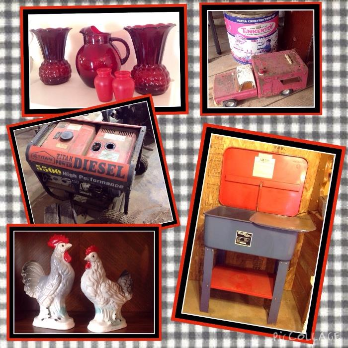 Red glass, Vintage Japan roosters, parts washer, tinker toys, old metal truck