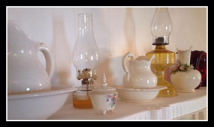 Oil lamps, pitcher and basins