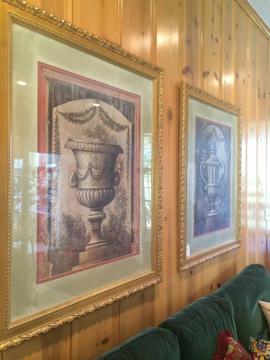 Large urn framed art