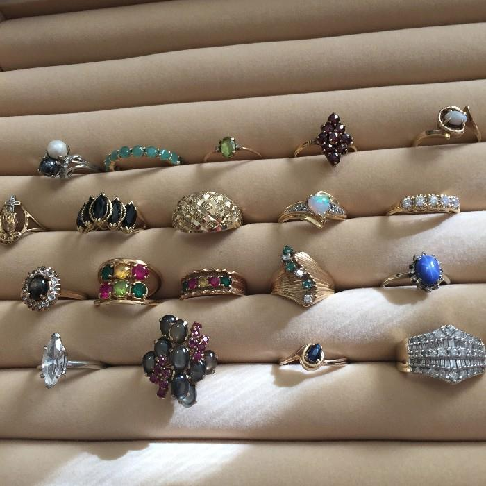 10K AND 14K SOLID GOLD RINGS WITH GEMSTONES