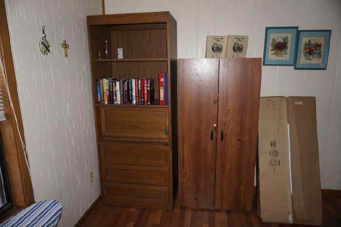 Computer cabinet (sold), locking two door cabinet, quilt rack