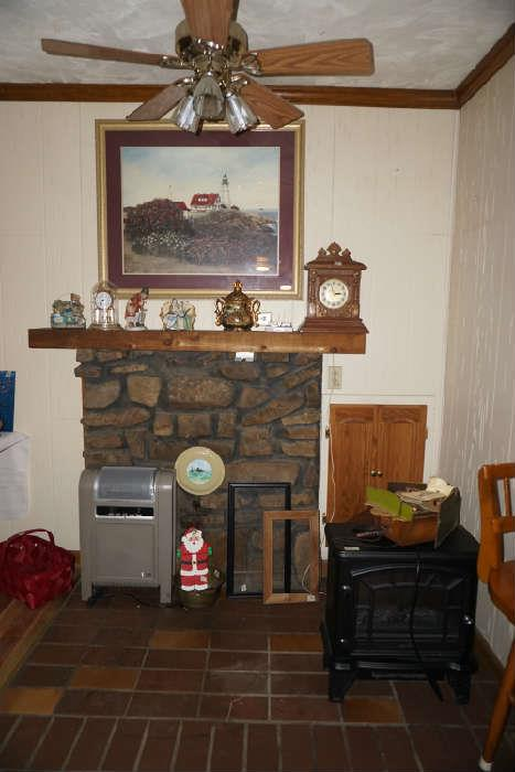 Decorative items, Glenda Turley limited edition (SOLD) , Duraflame space heater and (Lasko ceramic space heater Sold) Lg clock SOLD