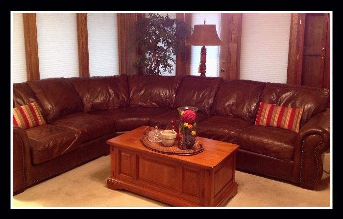 Leather sectional, coffe table with storage