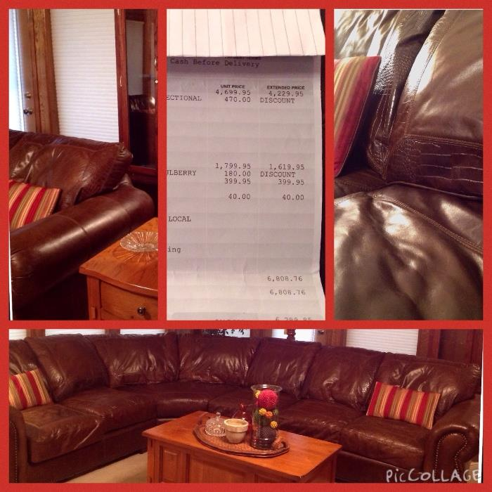 """Here are the measurements for this leather sectional. There are four sections that can be reconfigured in different ways or split up. Looking at the picture from left to right: section 1 is 58"""" wide, section 2 is the diagonal and is 45"""", section 3 is 23"""", and section 4 is 58"""". The sectional is 3 feet tall and 3 feet deep. It was purchased at Swann's a Furniture Store in Tyler."""