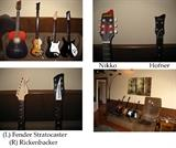 Fender Stratocaster, Rickenbacker, Nikko and Hofner guitars (3) smaller guitars are Xbox controllers  (Hofner, Fender, Rickenbacker