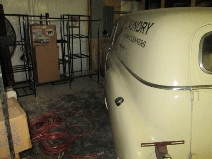 1950 Chevrolet Sedan Delivery, commercial apparel racks and the boxes of mystery.  What could be inside?