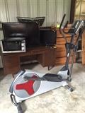Proform Elliptical, Sanyo and Westinghouse Flat Screen TVs, Microwave, Desk
