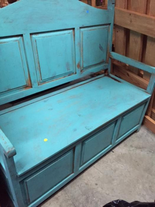 Rustic Teal Bench