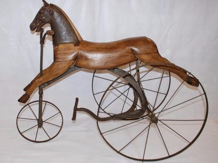 Antique Cast Iron & Wooden Child's Horse Tricycle