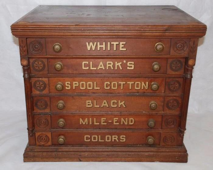 Antique 6 Drawer Clark's Spool Cabinet
