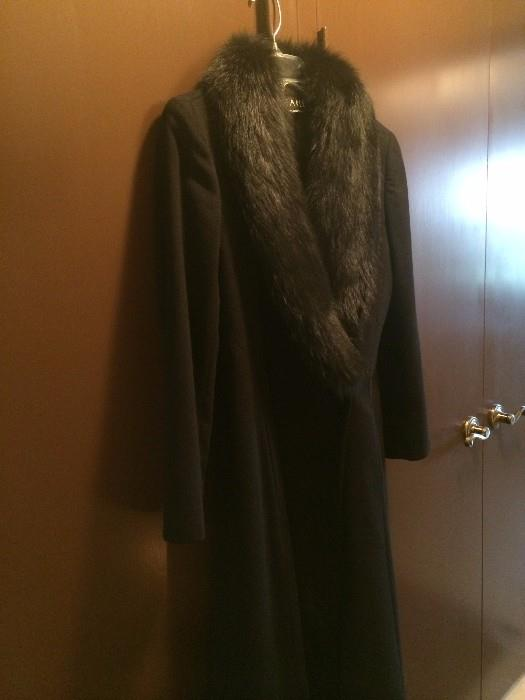 Consigned cashmere & fox full length coat (size 6)