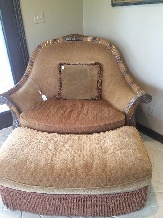 Over-sized chair with matching ottoman