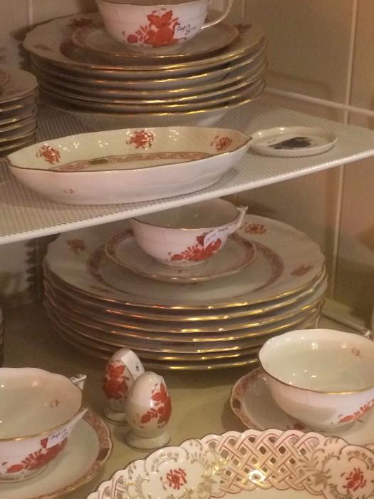Large selection of Herend handpainted china