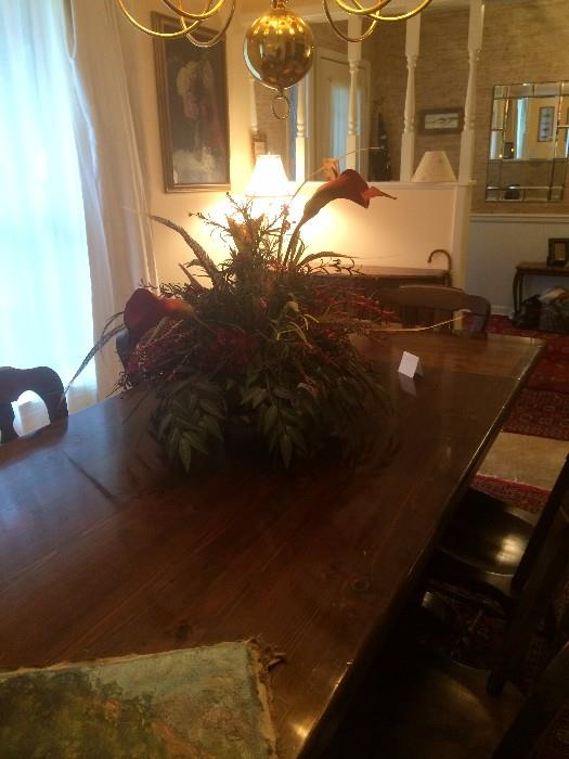 Long farm table and chairs