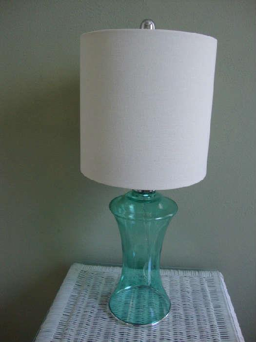 Contemporary Blue Glass Lamp