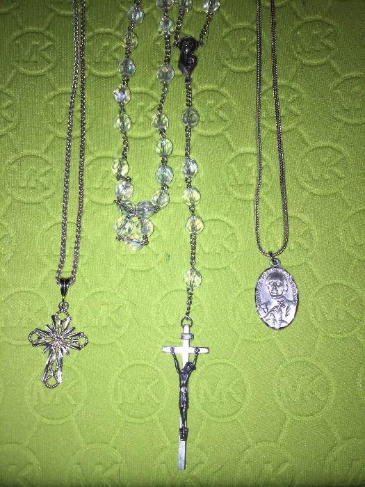 STERLING SILVER CROSS // ROSARY // AND RELIGIOUS PENDANT