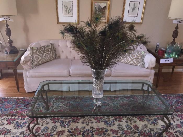 GLASS TABLE / CREAM TUFTED SOFA AND SIDE TABLES WITH LAMPS