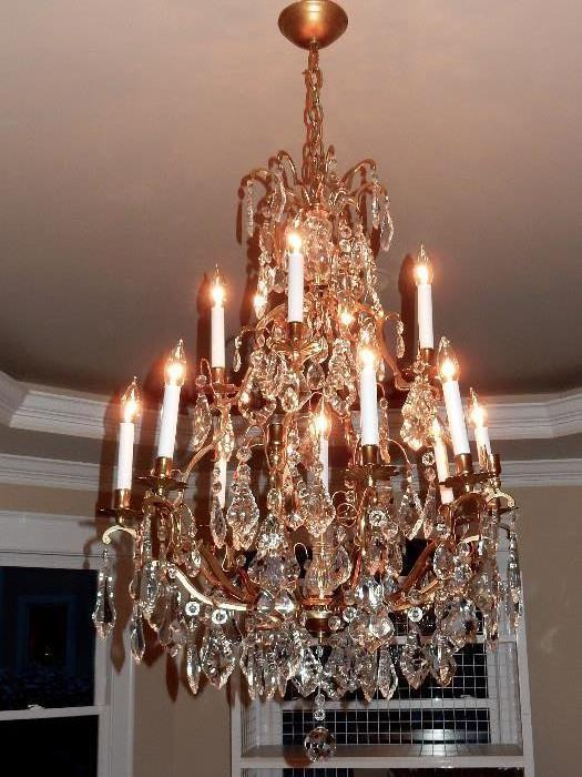 "38"" x 24"" Antique Stunning Large Crystal Chandelier"