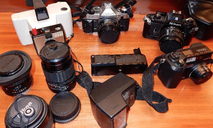 Various vintage cameras.